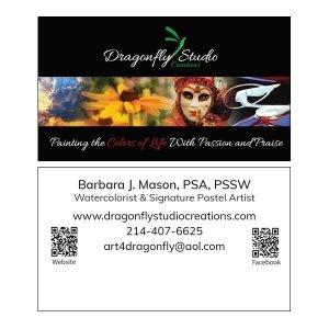 Split Pear Dragonfly Studio Creations Logo and Card Design