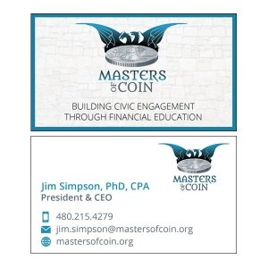 Split Pear Masters of Coin Logo and Card Design