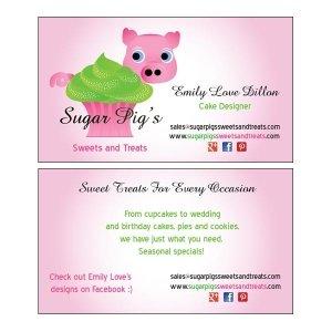 Split Pear Sugar Pig's Logo and Card Design